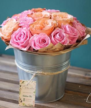 Букет роз в ведерке Роял